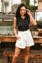 Frances Paperbag Shorts in White