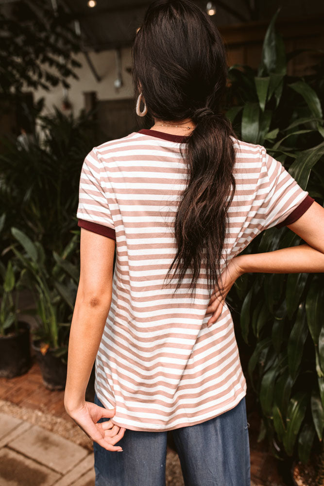 Harlie Striped Tee in Mauve