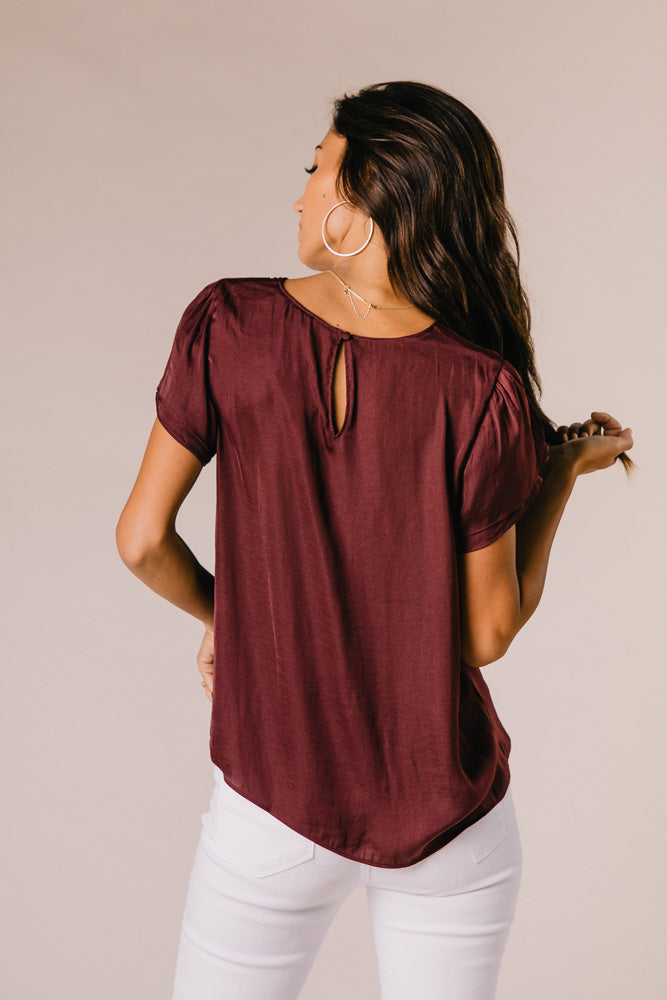 Margot Tulip Sleeve Top in Plum