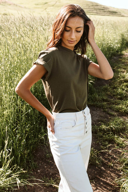 Selena Rolled Sleeve Tee in Olive