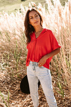 Lucas Button Down Top in Red