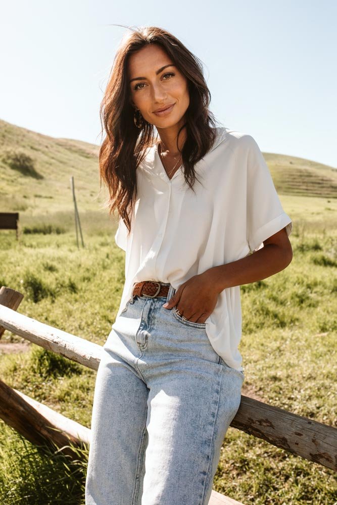 Lucas Button Down Top in White