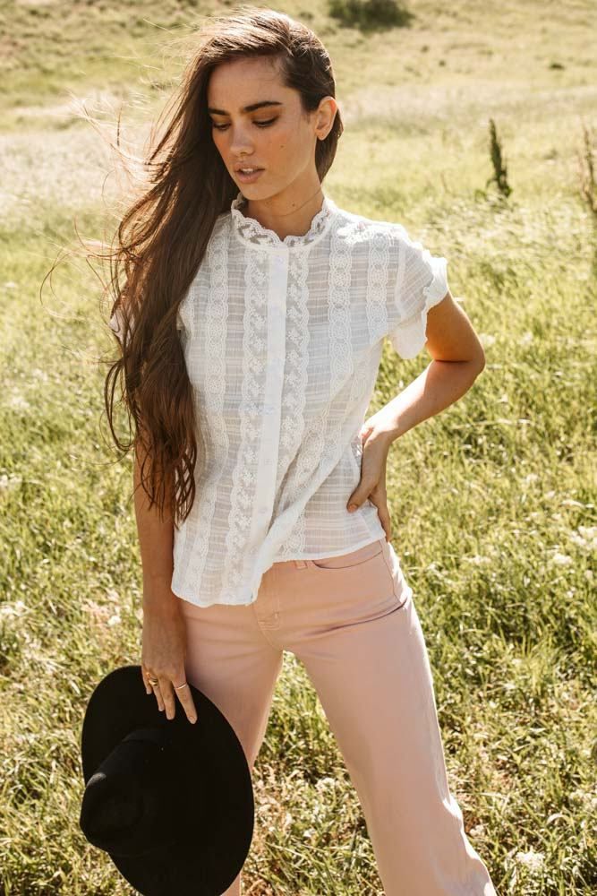Wendy Button Down Lace Top