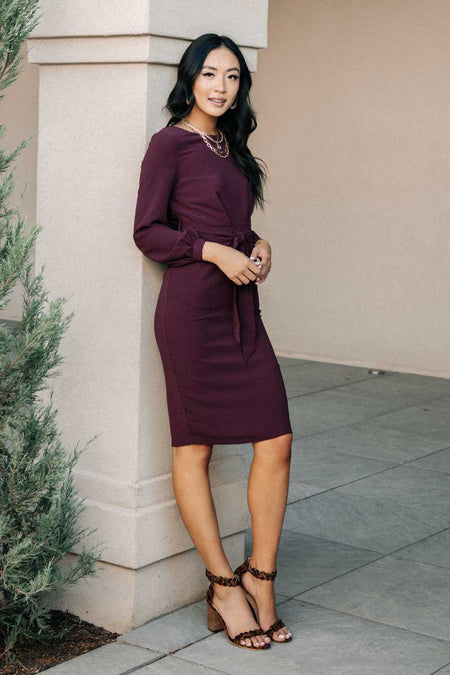 Rae Sheath Dress in Burgundy-FINAL SALE