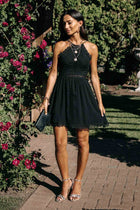 Hailey Lace Halter Dress in Black