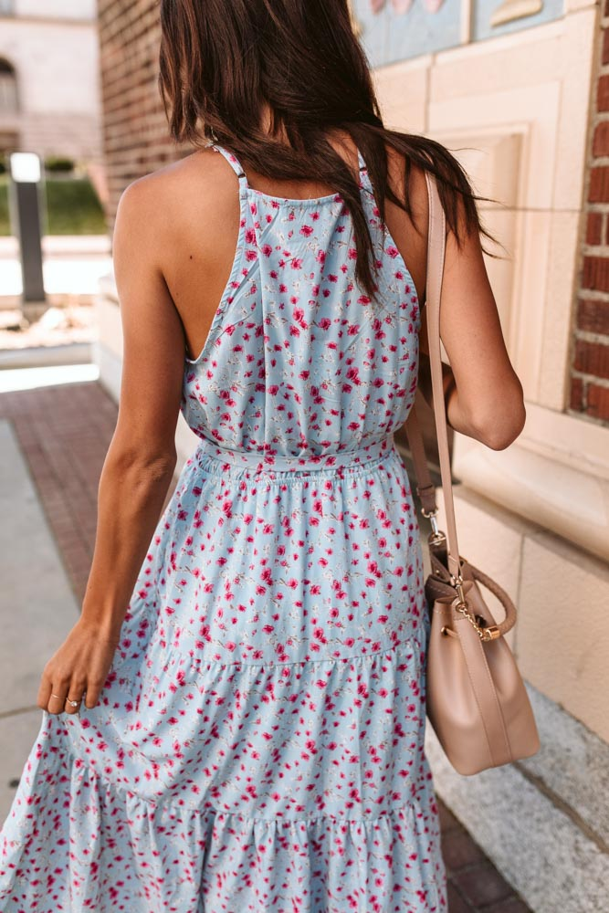 Painted Floral Halter Midi Dress-Final Sale
