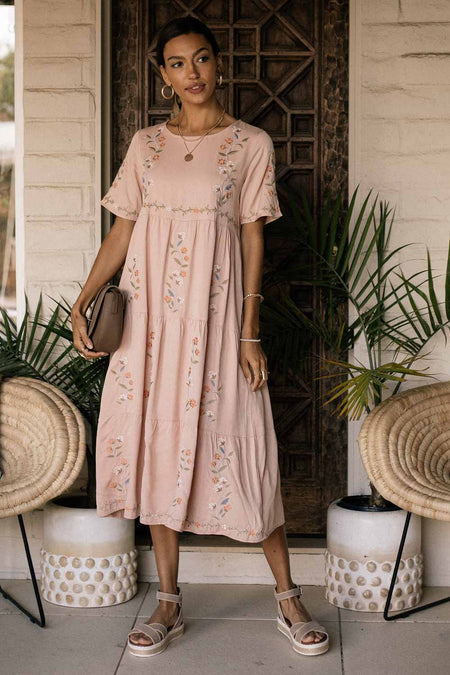 Tiered Embroidered Midi Dress in Pink