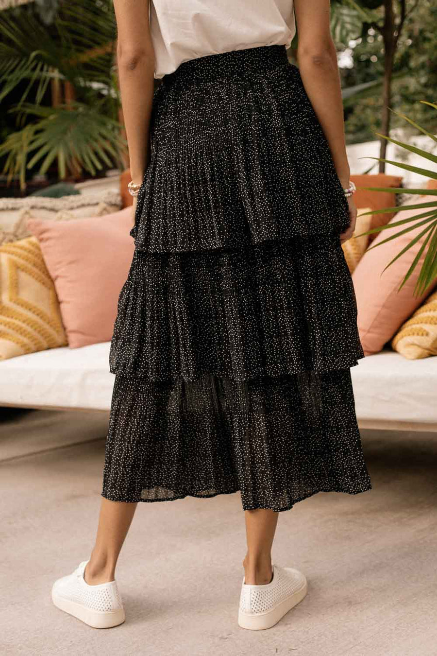 Tiered Polka Dot Midi Skirt in Black