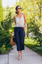 Cassie Cropped Pants in Navy