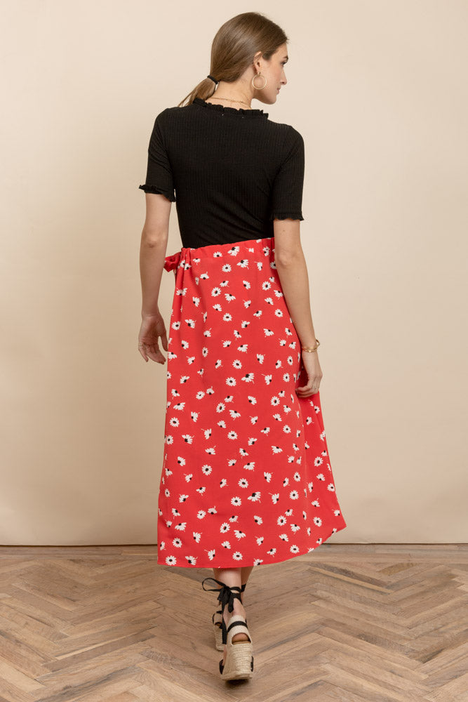 Sweet Daisies Faux Wrap Skirt