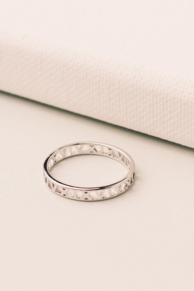 Roman Numerals Ring in Silver