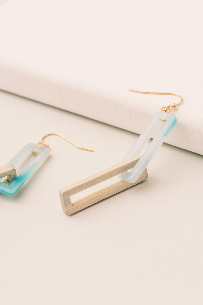 Rectangle Chain Earrings in Blue