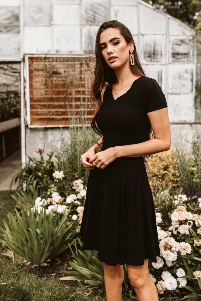 Nola Skater Dress in Black