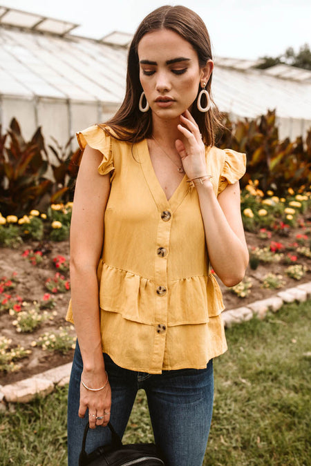 Venice Ruffle Top in Mustard