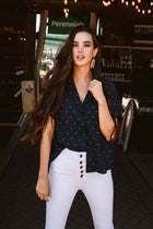 Lucas Button Down Top in Triangle Print