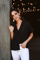 Lucas Button Down Top in Black