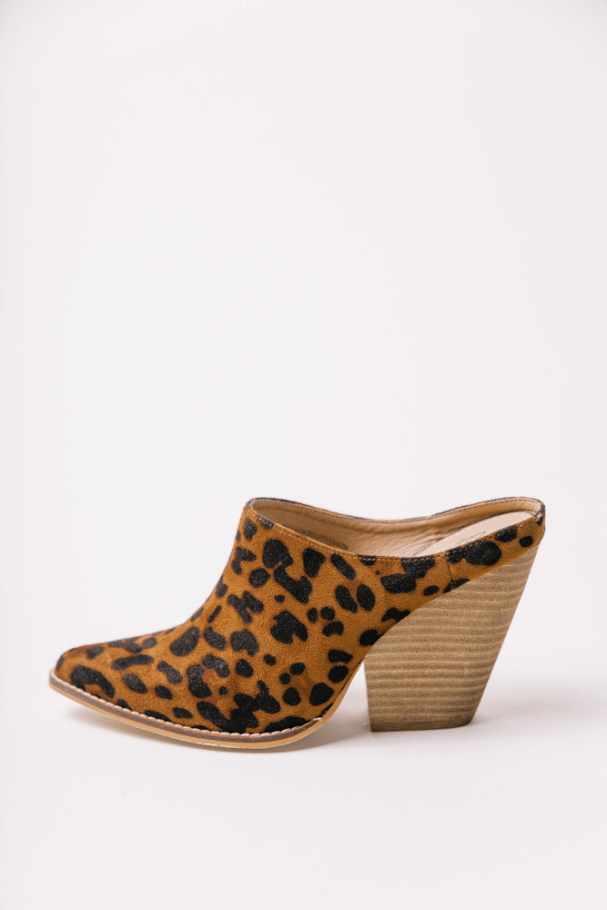 Sam Heeled Mules in Leopard