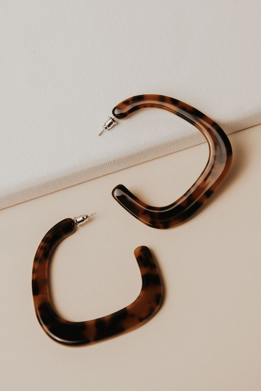 Open Hoop Tortoise Shell Earrings
