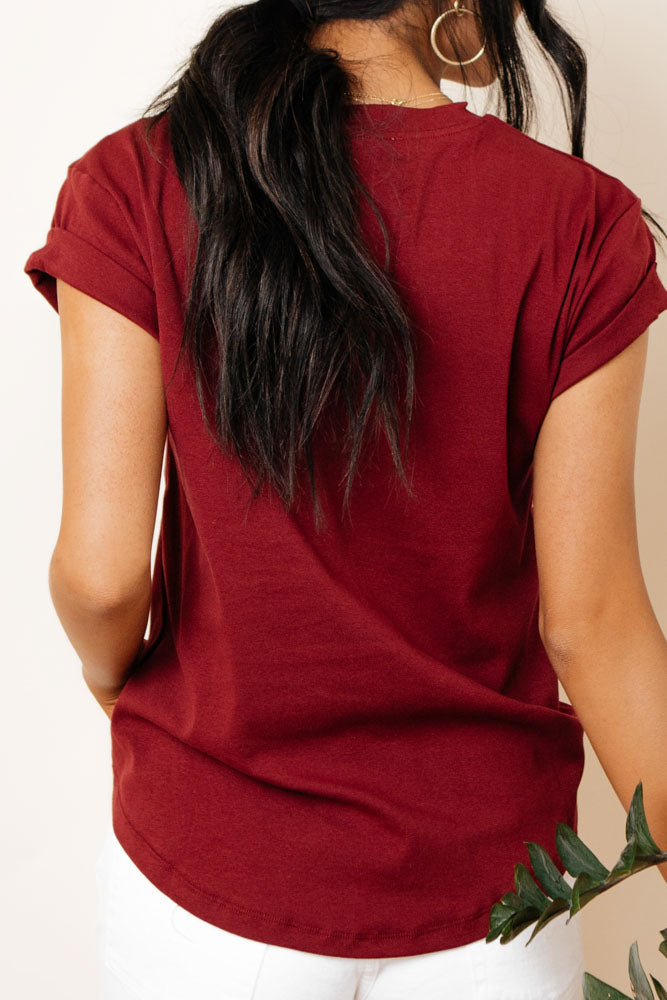 Selena Rolled Sleeve Tee in Burgundy