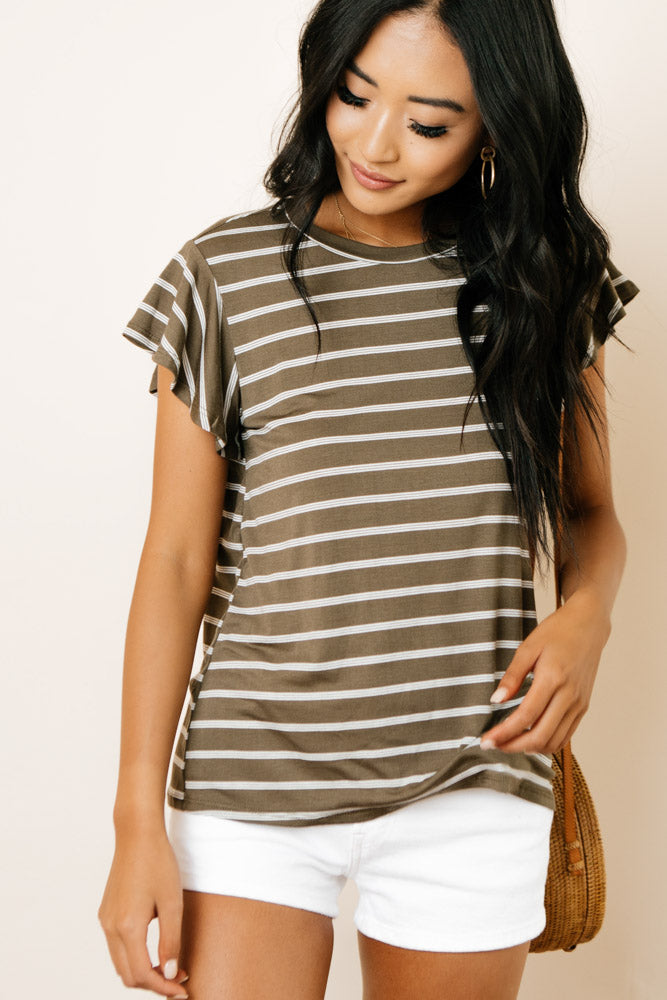 Kennedy Flutter Sleeve Tee in Olive