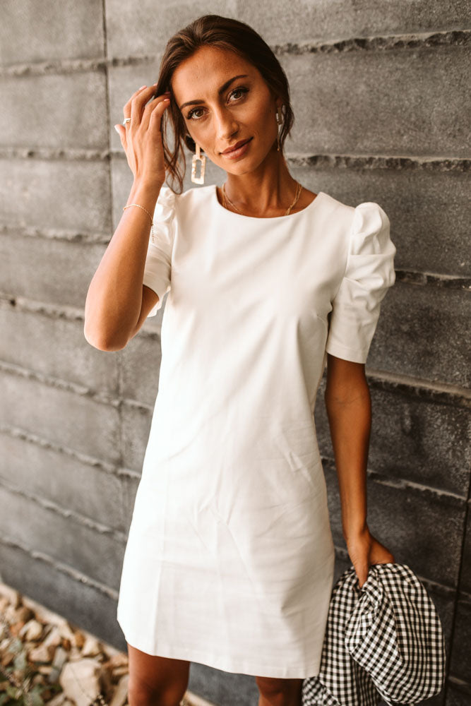 Lea Ruched Sleeve Dress in White - Final Sale