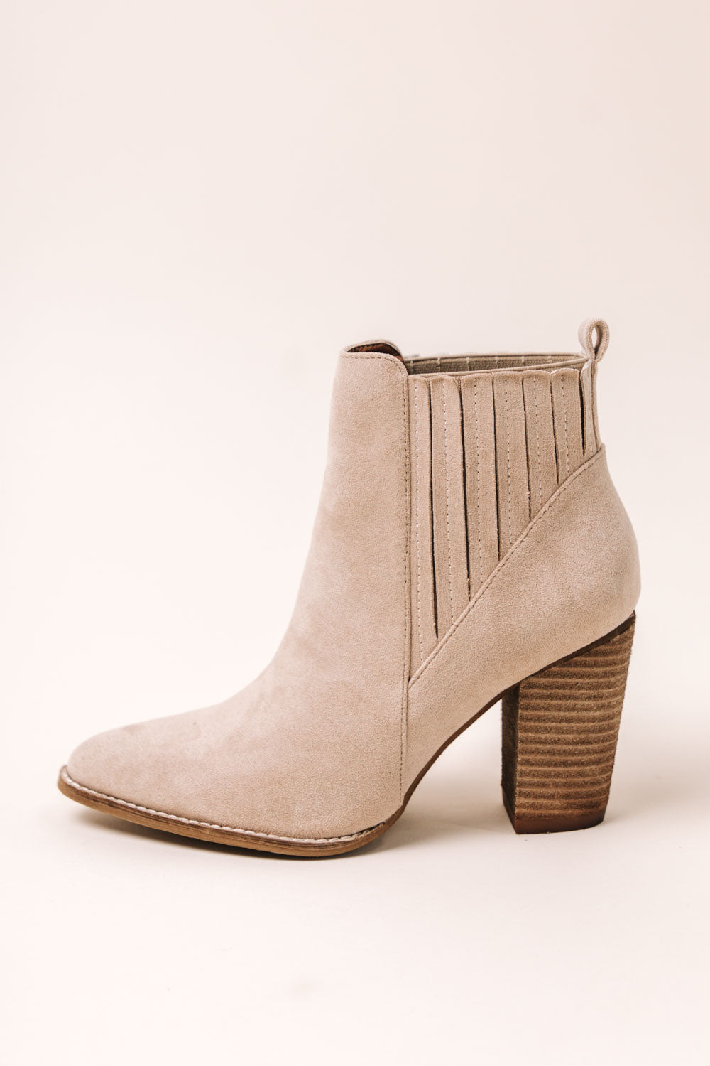 Jackie Heeled Booties in Taupe