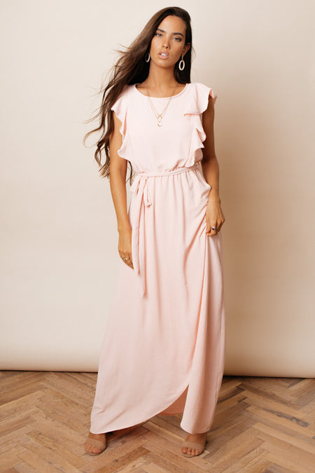Karina Ruffle Maxi Dress in Pink