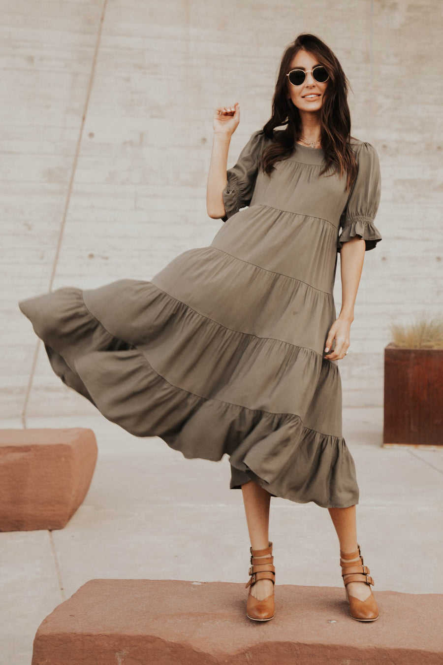 Sunshine Tiered Midi Dress in Olive