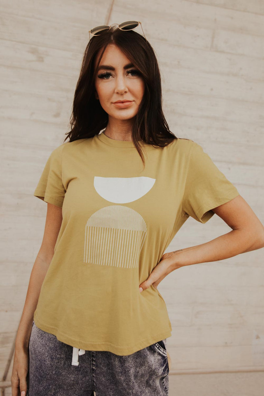Geo Stack Graphic Tee in Chartreuse