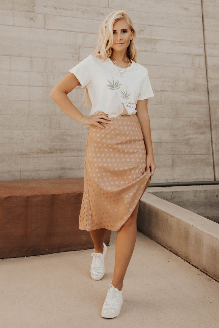 Polka Dot Satin Midi Skirt - FINAL SALE