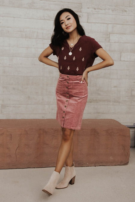 Corduroy Button Down Skirt in Pink - FINAL SALE
