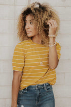 Striped Puff Sleeve Tee in Mustard