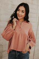 Dany Button Down Babydoll Top in Salmon
