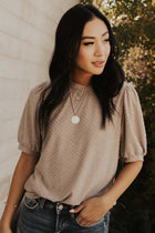 Textured Dot Puff Sleeve Tee in Mocha