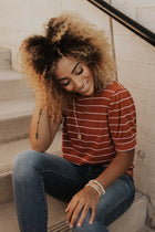 Striped Puff Sleeve Tee in Rust