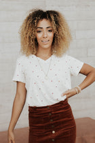 Ditsy Embroidered Triangle Tee