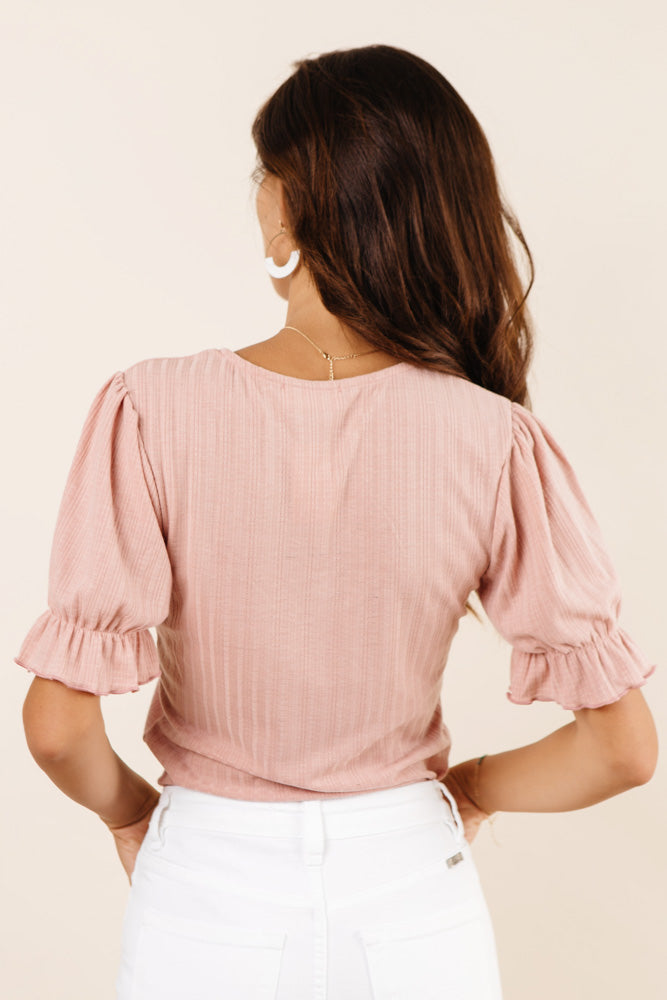 Aspen Puff Sleeve Top in Pink