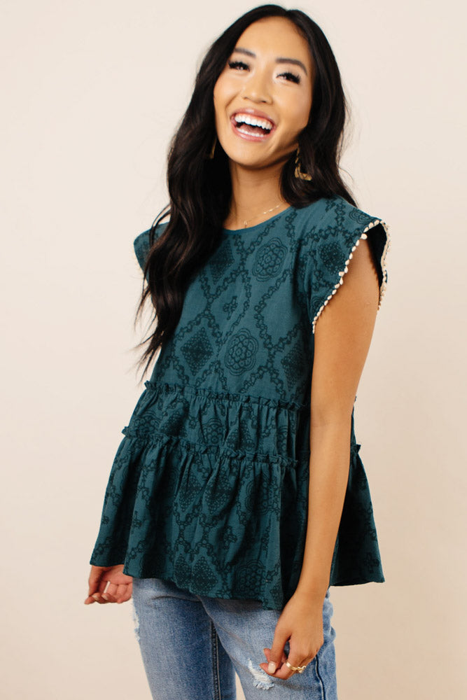 Heidi Patterned Top in Green