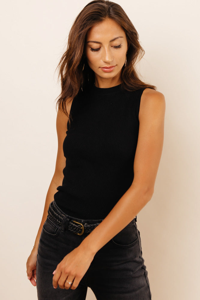 Elsie Ribbed Tank in Black