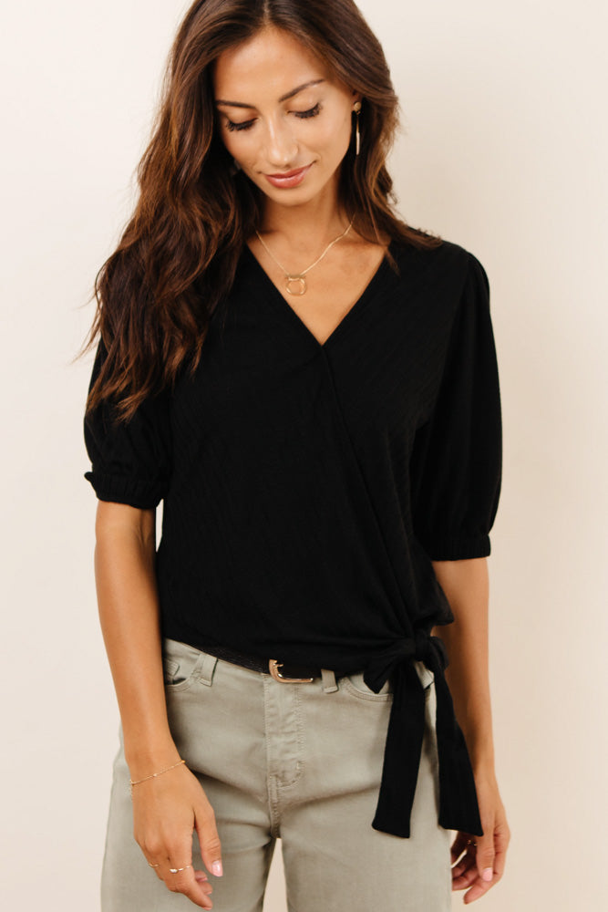 Shantay Faux Wrap Top in Black