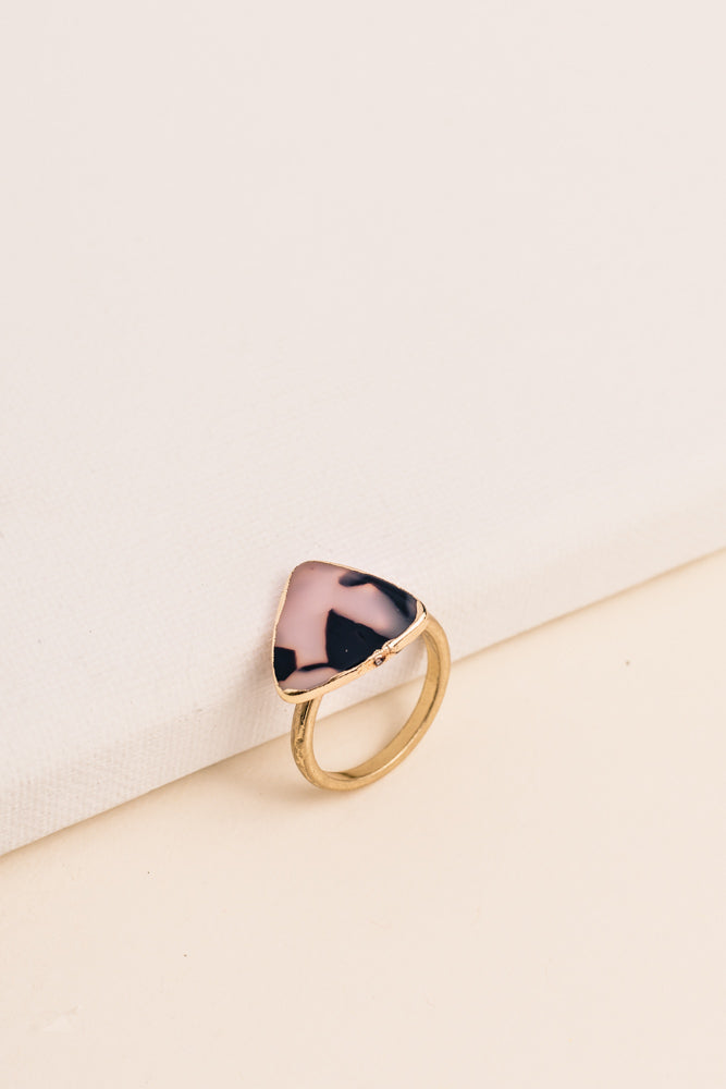 Triangle Stone Ring in Pink