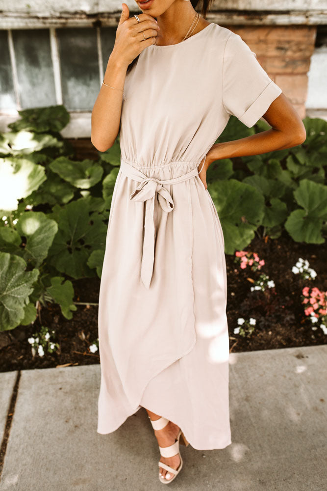 Lyanna Maxi Dress in Taupe - Final Sale