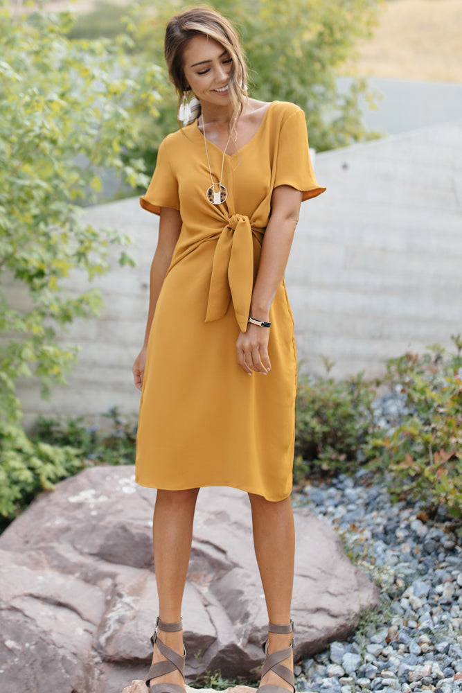 Knotted Shift Dress in Mustard