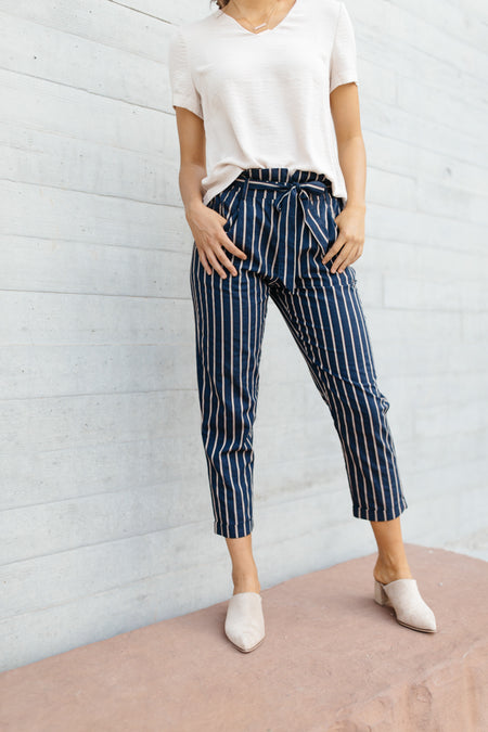 Lucy Paperbag Stripe Pants in Navy
