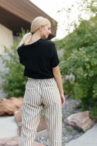 Lucy Paperbag Stripe Pants in Taupe - Bohme