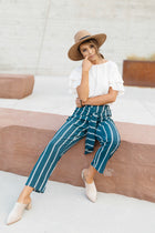 Lilou Knotted Stripe Pants in Teal-FINAL SALE