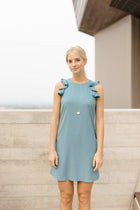 Ella Sleeveless Mini Dress in Teal - Bohme