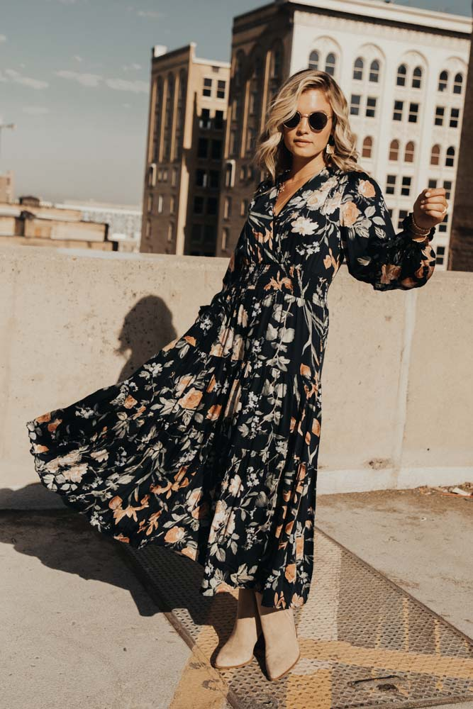 Adella Floral Tiered Midi Dress in Navy