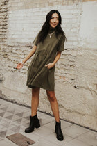 Mock Neck Babydoll Dress