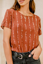 Vine Patterned Top in Brown